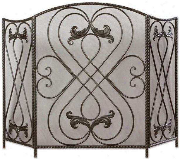 Decorative Metal- Scrolled Fireplace Screen