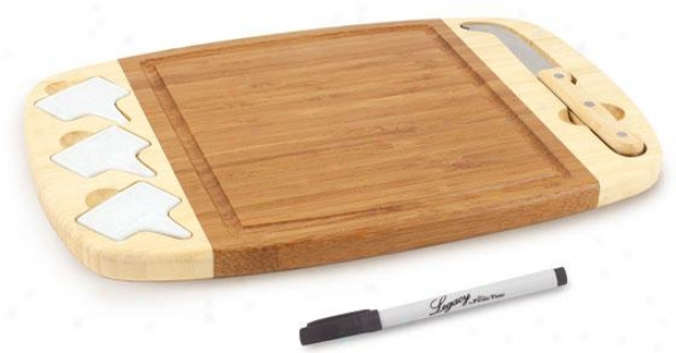"""delio Cheese Tray With Indicators - 1h X 14w X 9""""d, Natural Wood"""