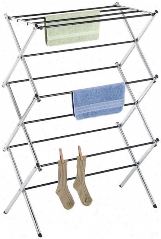 """deluxe Cgrome Folding Drying Rack - 42""""hx29.5""""w, Sivler Chrome"""