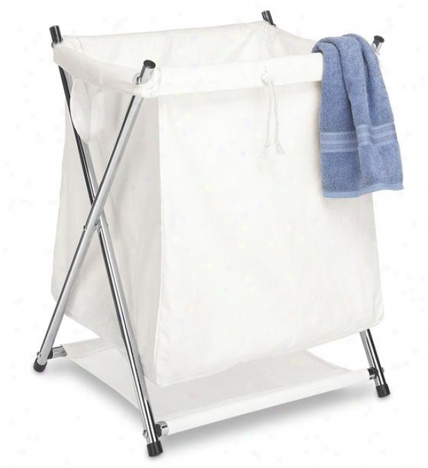 """deluxe Folding Clothes Laundry Hamper - 23""""hx20""""wx18""""d, White"""