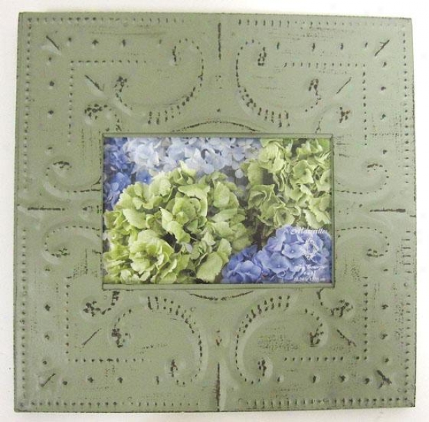 Distressed Tin Picture Frame - 10x10-holds 4x6, Green