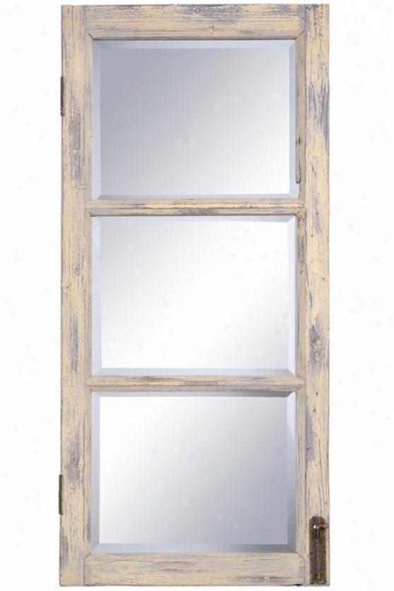 """distressed Windowpane Mirror - 41.5h X 19.5w X 1.5""""d, Distressed Happy"""