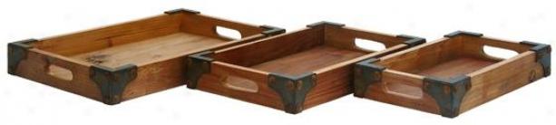 Distressed Wood Tray - Set Of 3 - Set Of Three, Distressed