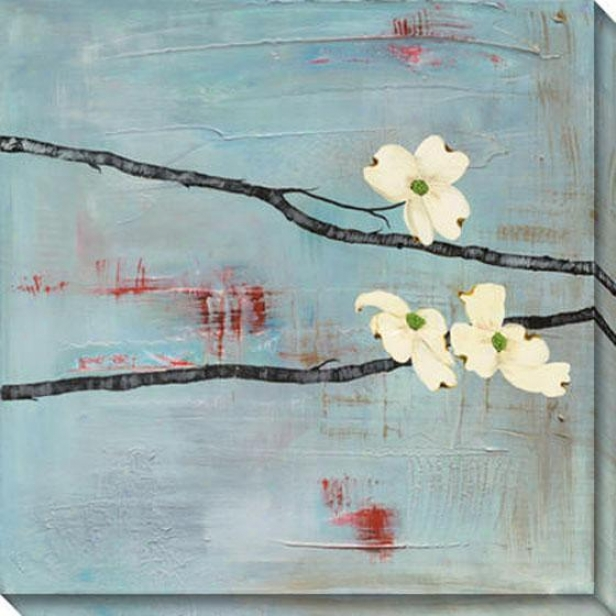 Dogwood On Blue I Canvas Wall Art - I, Blue