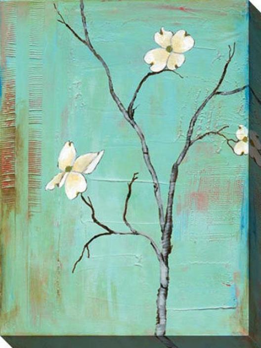 Dogwood On Turquoise I Canvas Wall Art - I, Turquoise