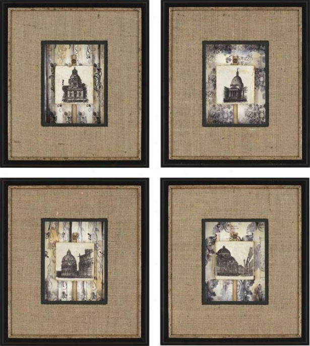 Dome Tiles Framed Wall Art - Set Of 4 - Set Of Four, Burlap