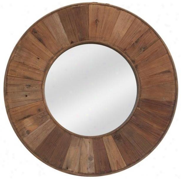 """dothan Wall Mirror - Round: 32""""d, Brown"""