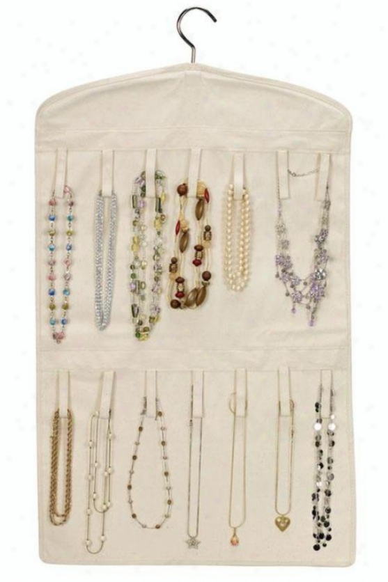 """double-sided Jewelry Organizer - 32""""hx18""""w, Cotton Canvas"""