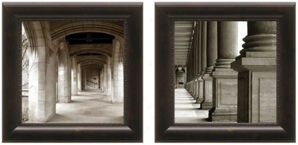 Down The Corridor Framed Wall Art - Set Of 2 - Suit Of Two, Black