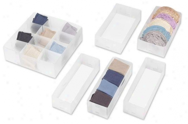 Drawer Organizer - Set Of 6 - Set Of Six, White