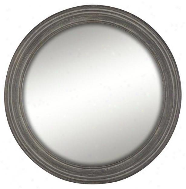 """""""drevo Wall Mirror - 28"""""""" Round, Woodtone"""""""