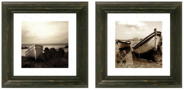 Dry Ashore Framed Wall Cunning - Set Of 2 - Set Of Two, Black