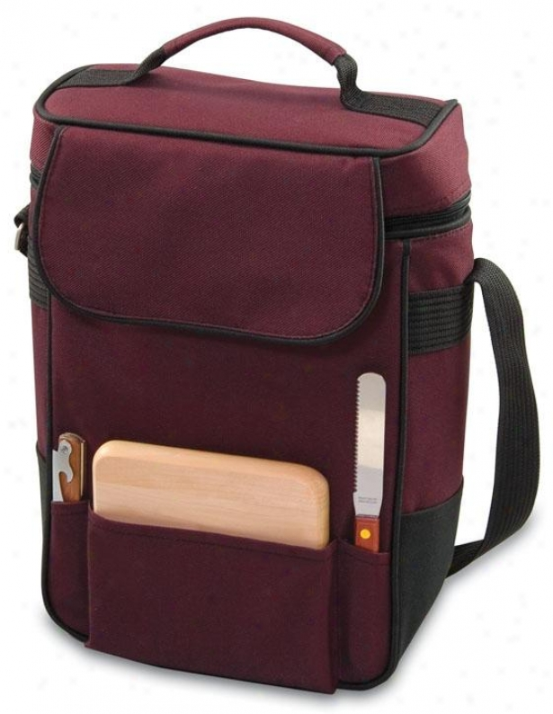 """duet Wine & Cheese Tote - 14h X 10w X 6""""d, Burgundy"""