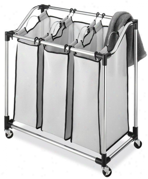 """durable Chrome Laundry Sorter - 33""""hx31""""wx16""""d, Silver Chrome"""