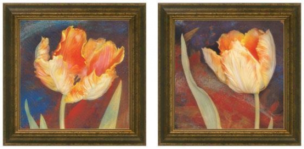 Dusk Tulip Framed Wall Art - Set Of 2 - Set Of Two, Blue