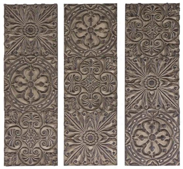 Dymaan Plaques - Set Of 3 - 36hx12w, Olive