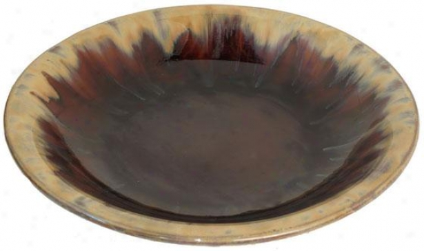 """earth Ceramic Plate - 20""""round, Brown"""