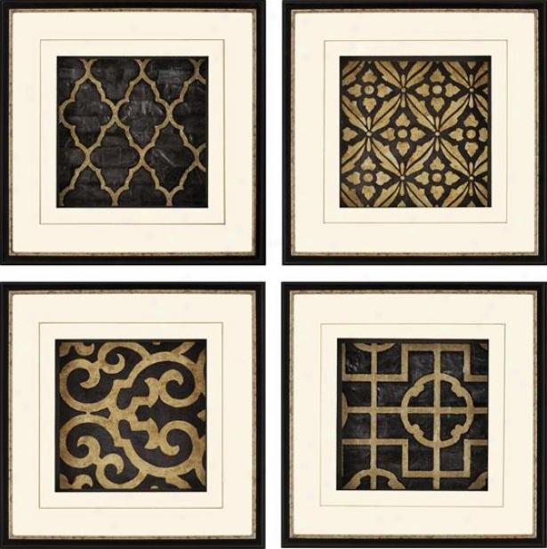 Ebony Framed Wall Art - Set Of 4 - Set Of Four, Black & Gold