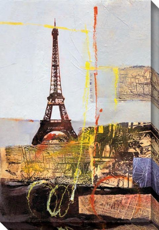 """eiffel Canvas Wall Art - 36""""hx48""""w, Blue"""