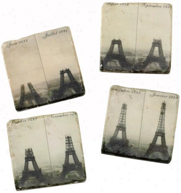 Eiffel Citadel Coasters - Set Of 4 - Set Of 4, Black