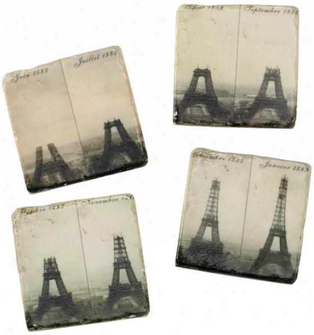 Eiffel Citadel Coasters - Set Of 4 - Set Of 4, Black