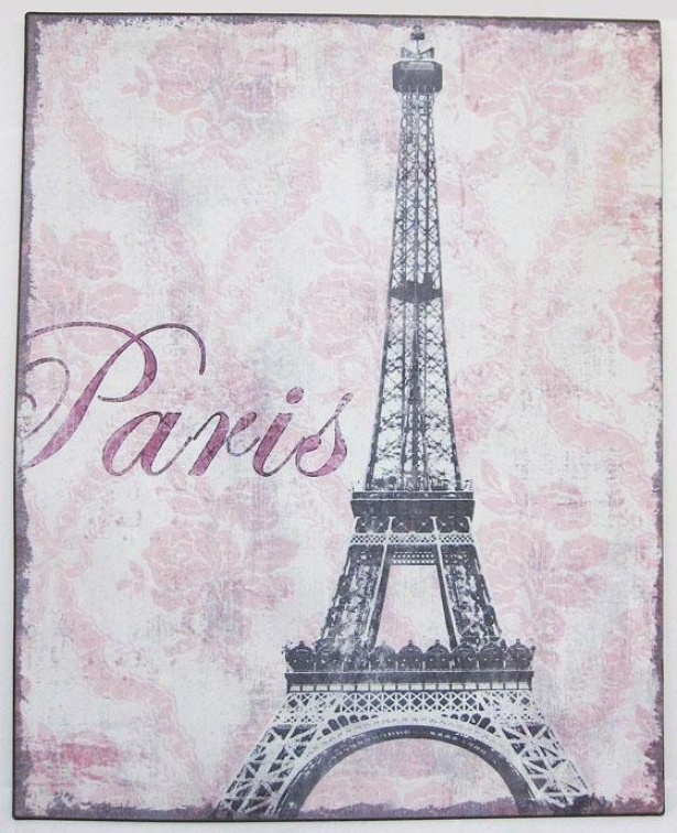 Eiffel Tower Metal Wall Plaque - Eiffel Tower, Vintage Cream