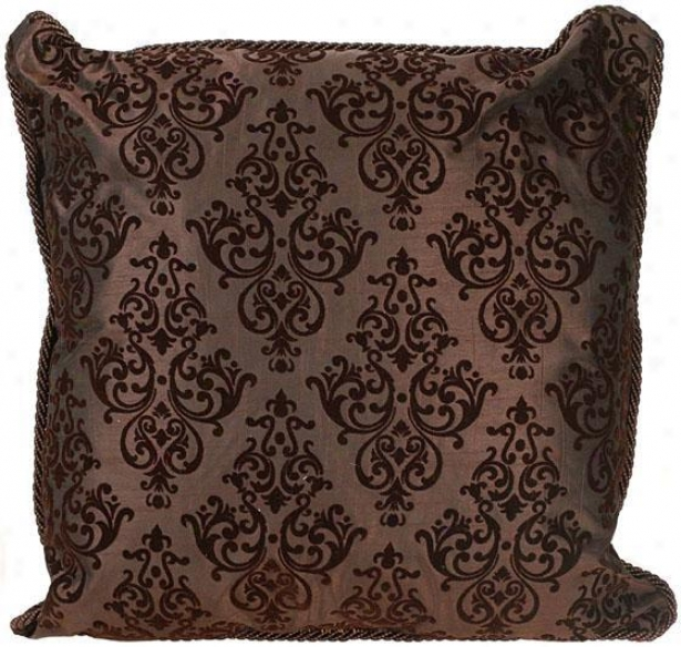 """elaine Pillow - 21"""" Square, Chocolate Brown"""