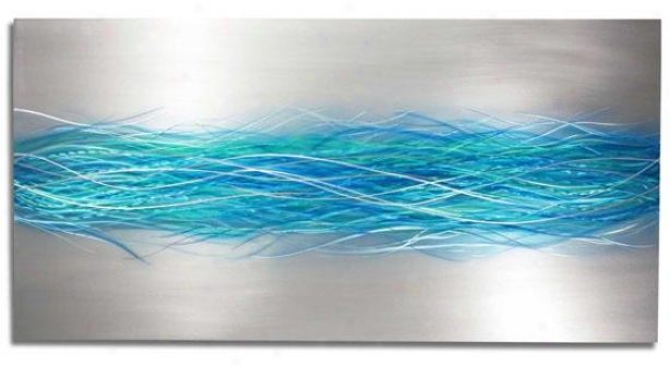 """electriic Storm Wall Sculpture - 48""""hx24""""wx1""""d, Blue Silvery"""