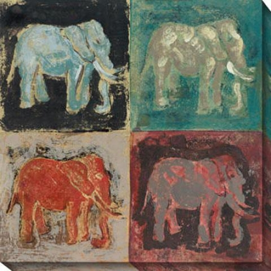 """elephant Canvas Wall Art - 40""""hx40""""w, Multi"""