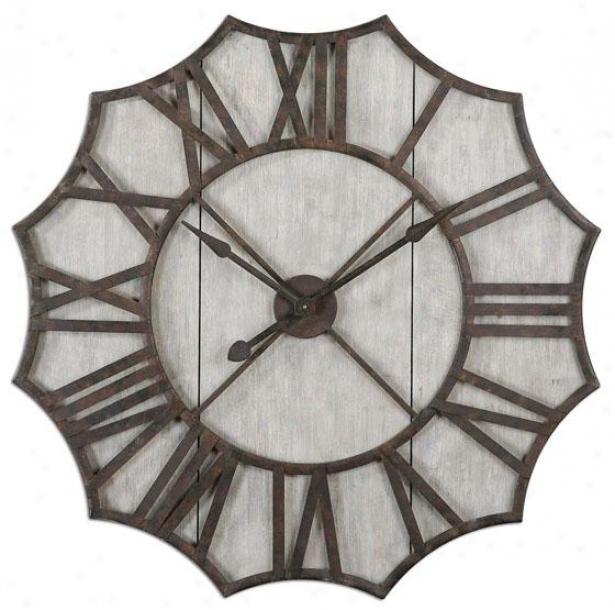 """elliston Clock - 39.5""""h X 36""""w, Rust/bronze"""