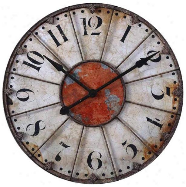 """ellsworth Wall Clock - 29 X 29 X 2""""d, Crackled Ivory"""