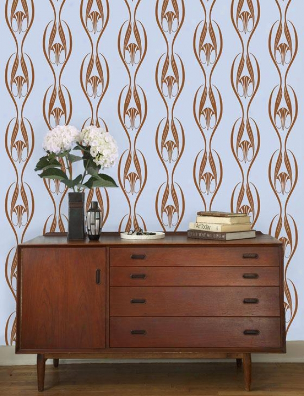 """etta Tempaper Wallpaper Collection - 11yds X2 0.5""""w, Powder Blue & Copper"""