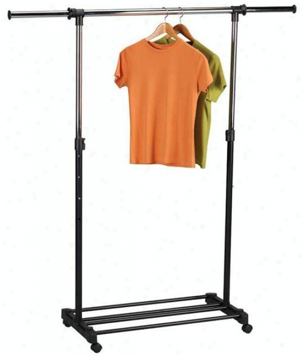 """extendable Garment Rack - 43""""-72""""x37""""-61"""", Silver Chrome"""