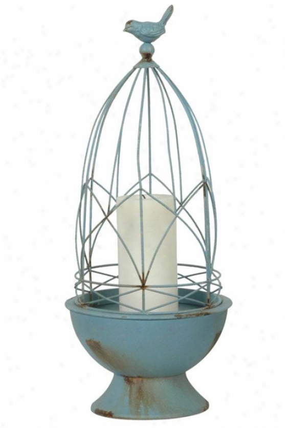 """faded Blue Wire Cage Candleholder - 18.5""""h X 8""""d, Faded Blue"""