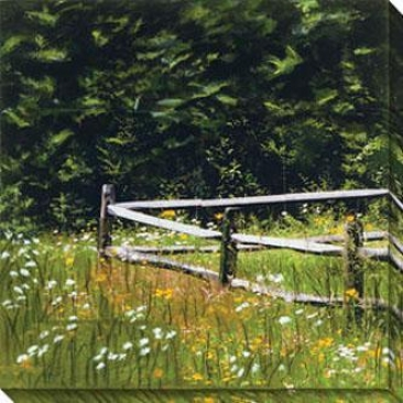 Fence Series Vi Canvas Wall Art - Vi, Green