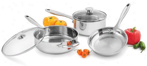 Five-piece Stainless Steel Cookware Set - 11hx12w, Silver