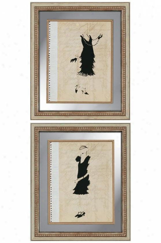 Flappers Wall Art - Set Of 2 - Set Of 2, Black