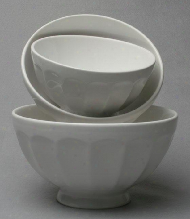 Flea Market Mixing Bowls/set Of 3 - Set Of Three, White