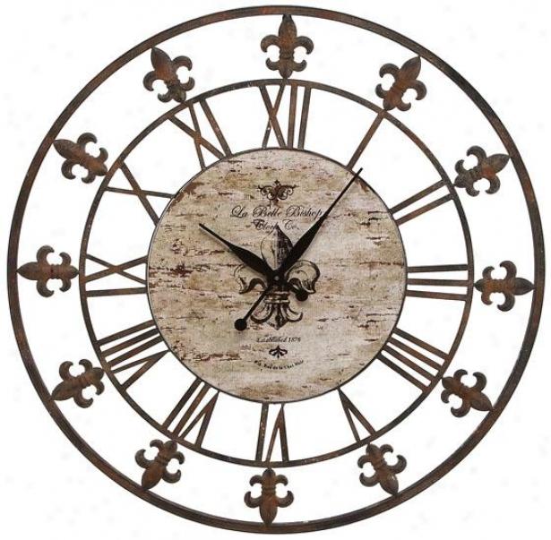 """fleur De Lis Wall Clock Ii - 36""""d, Antiqued Brown"""