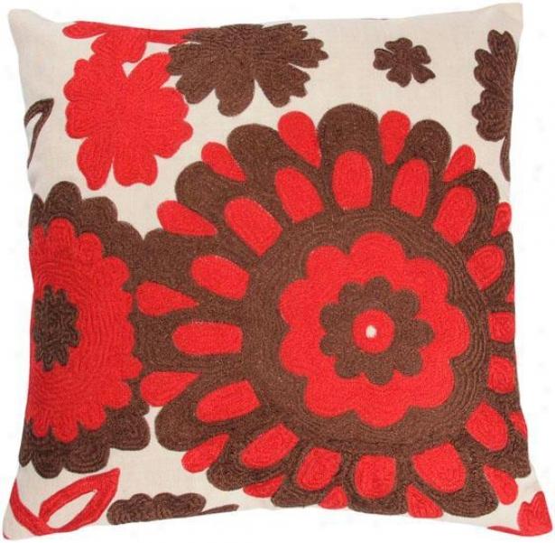 """""""flora Pillow - 18""""""""x18"""""""", Ivory"""""""
