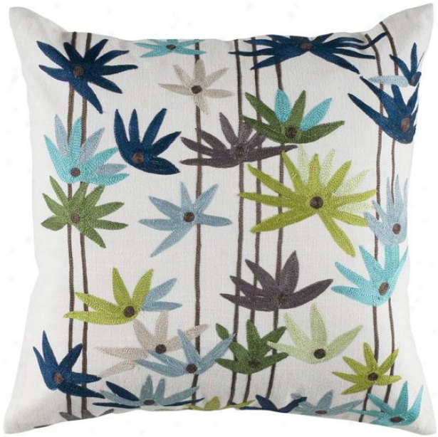 """floral Frenzy Pillow - 18"""" Square, Blue"""