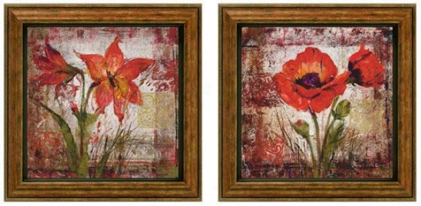 Floral Song In Pink Framed Wall Art - Set Of 2 - Set Of Two, Red