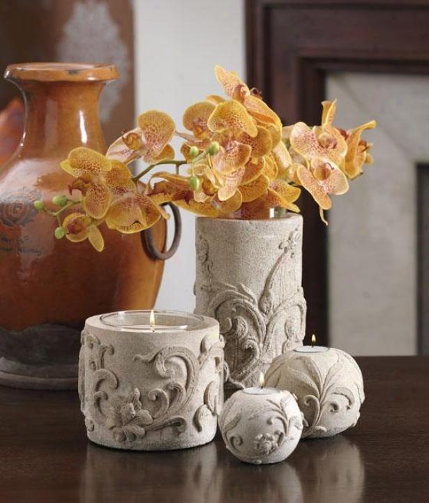 Florero Sandstone Vase Candleholder - Candleholder, Ivory