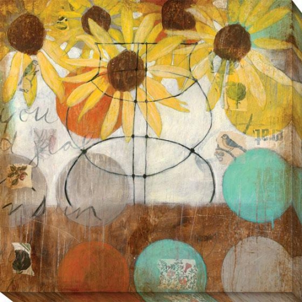 Flowers And Circles Setting Ii Canvas Wall Art - Ii, Brown