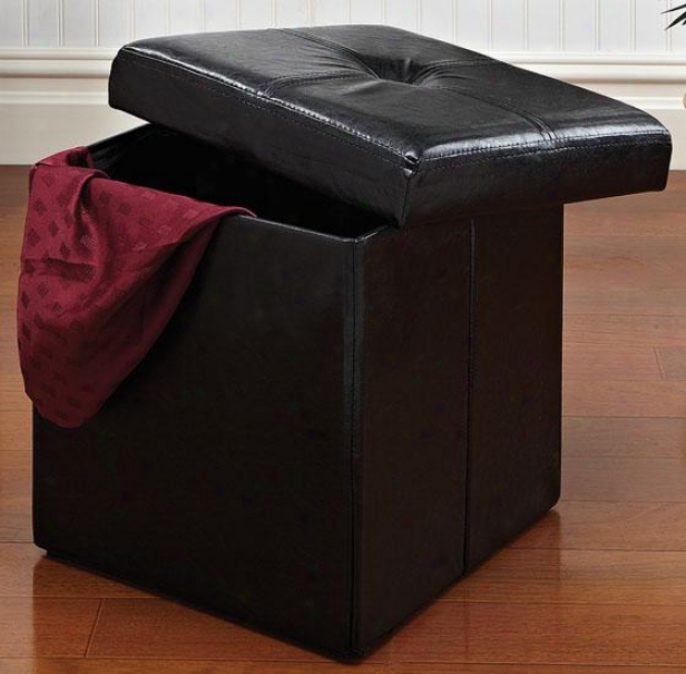 """folding Storage Ottoman - 15""""hx15""""dx15""""w, Black"""