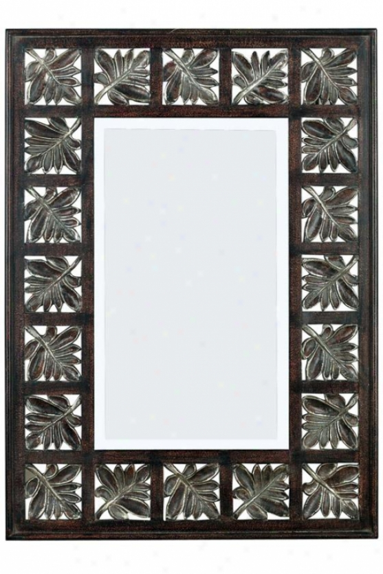 """foliage Wall Mirror - 32h X 23""""w, Dark Walnut W/silver"""