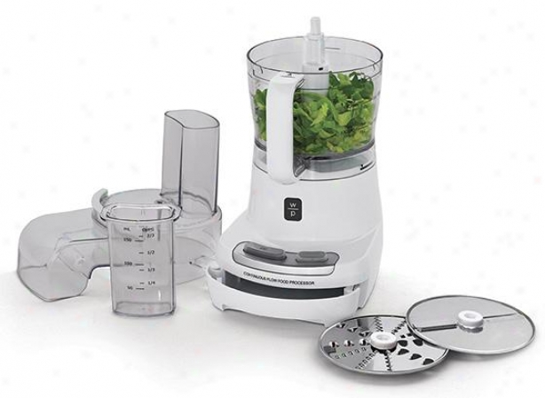 Food Processor With Continuous Flow Lid And Storage Drawer - 9hx9wx13d, White