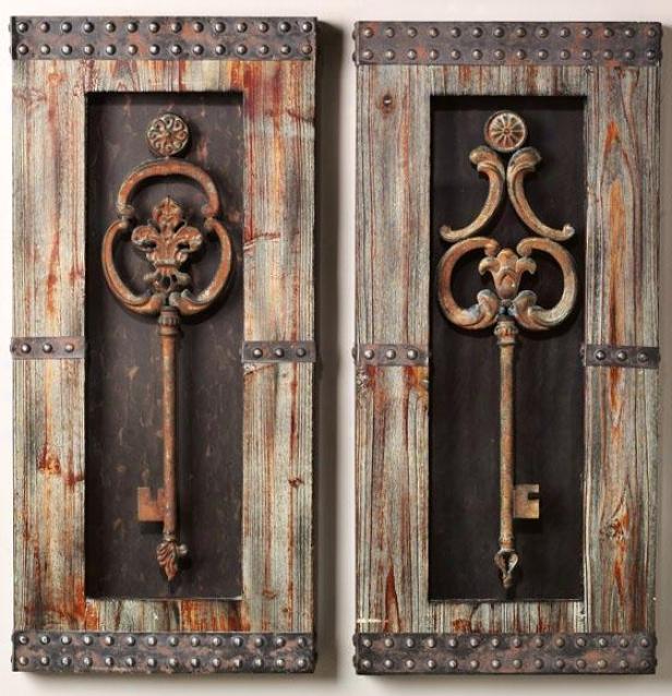 Framed Keys Metal Wall Art - Set Of Two, Brow