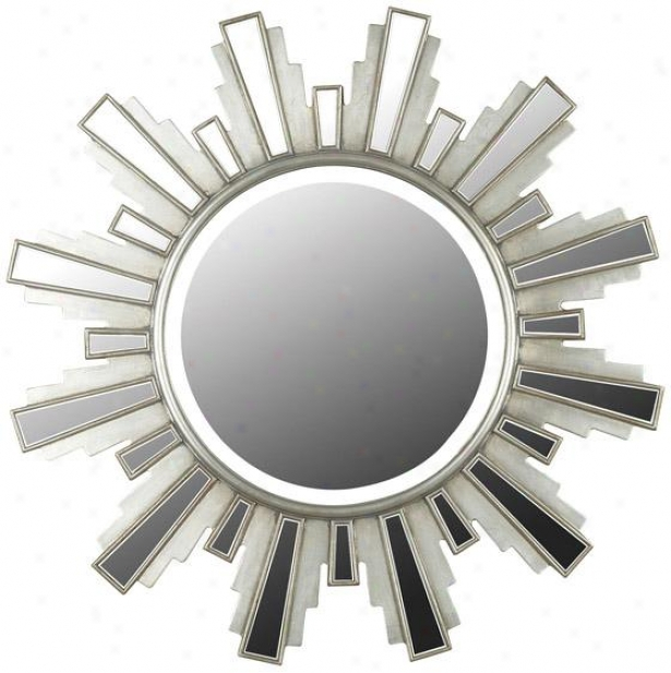 """francisco Wall Mirror - 34"""" Round, Silver"""