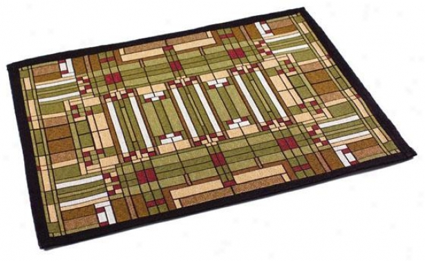 Frank Lloyd Wright  Skylight Window Table Linens - Placemats/4, Green Multi